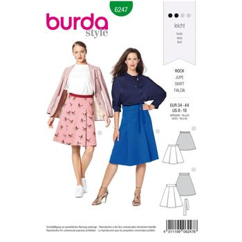 Wykrój krawiecki BURDA na spódnicę zzakładkami o rozszerzanym kroju