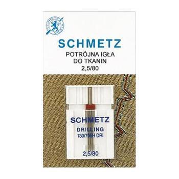 Igła potrójna do maszyn do szycia 130/705H DRI do tkanin Schmetz 2,5/80