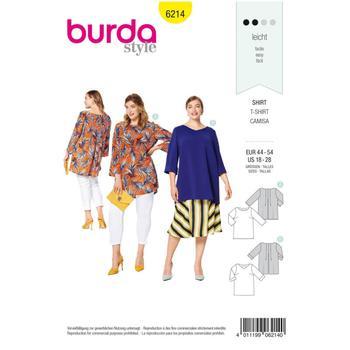 Wykrój krawiecki BURDA na luźną bluzkę z zakładkami ztyłu