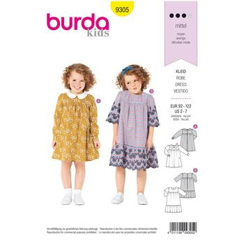 Wykrój krawiecki BURDA na sukienkę zkarczkiem ikołnierzykiem bebe oraz falbanką u dołu