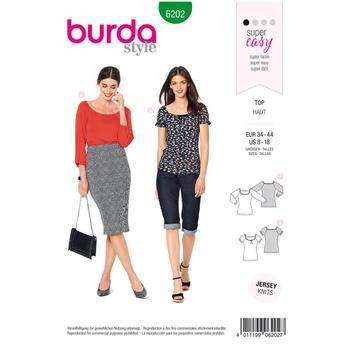 Wykrój krawiecki BURDA na bluzkę zraglanowymi rękawami i szerokim dekoltem