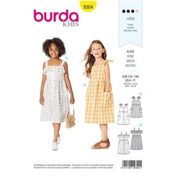 Wykrój krawiecki BURDA na sukienkę na ramiączkach zzapięciem na guziki imarszczoną spódnicą