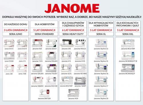 Maszyna do szycia Janome Jubilee 60507 + GRATIS 3 stopki + nici + szpulki