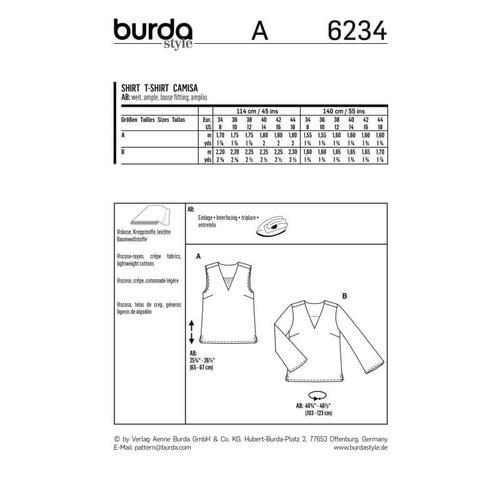 Wykrój krawiecki BURDA na bluzkę itop zdekoltem wszpic