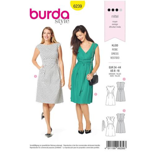 Wykrój krawiecki BURDA na sukienkę zpanelem wtalii i obniżoną linią ramion