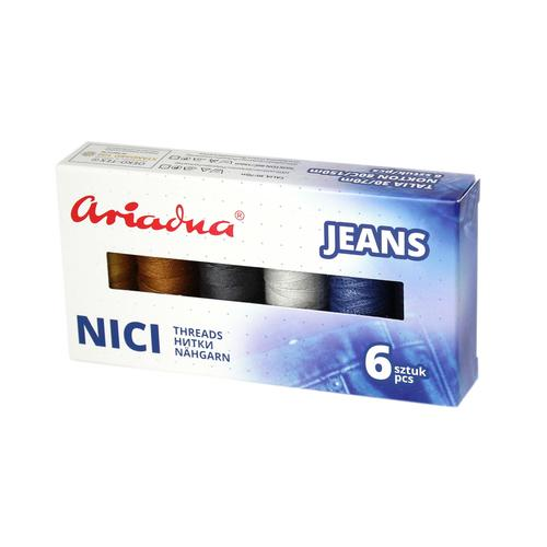 Zestaw 6 nici do jeansu Ariadna w pudełku