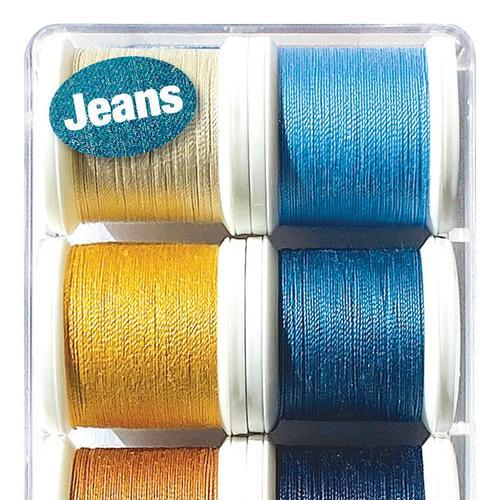 Zestaw 8 grubszych nici do szycia Areofil Extra Strong Jeans (100 metrów)