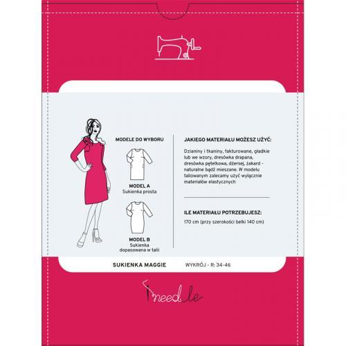 Wykrój na prostą sukienkę z długim rękawem