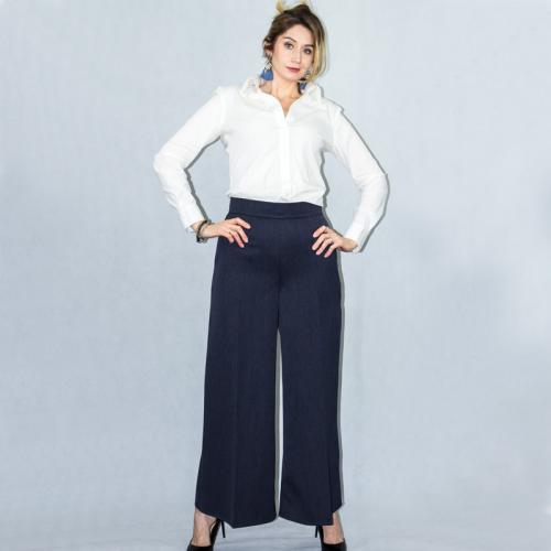 Wykrój na damskie spodnie z szerokimi nogawkami