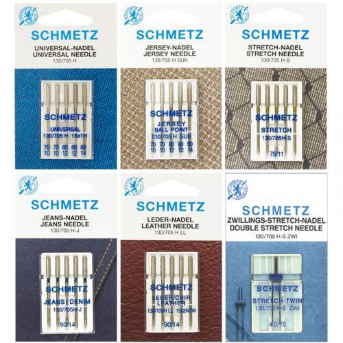 Zestaw igieł Schmetz do tkanin, dzianin, stretchu, jeansu, skóry i igła podwójna