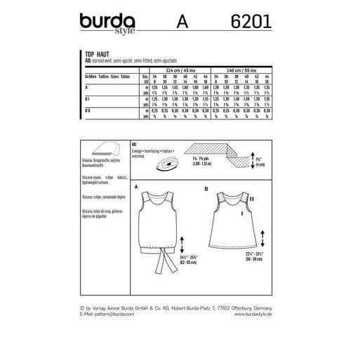 Wykrój krawiecki BURDA na top na ramiączkach o rozszerzanym kroju z paskiem i wiązaniami
