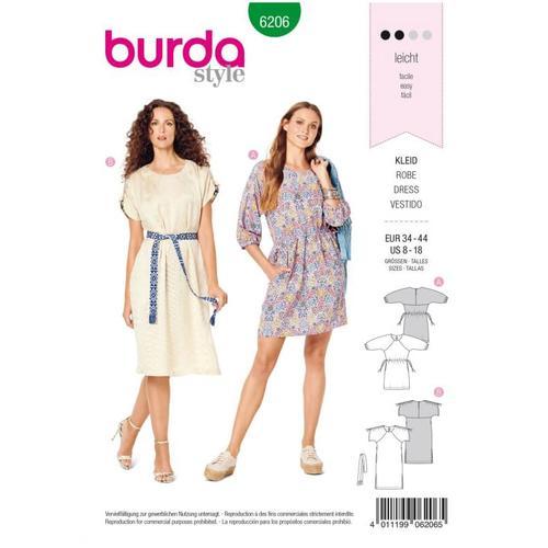 Wykrój krawiecki BURDA na luźną sukienkę zraglanowymi rękawami i tunelem wtalii