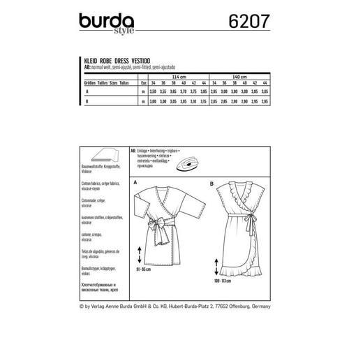 Wykrój krawiecki BURDA na sukienkę kopertową zpaskiem iwiązaniami oraz wolantami u dołu iprzy dekolcie