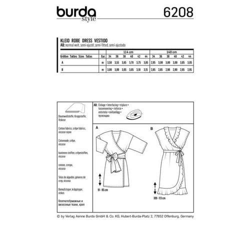 Wykrój krawiecki BURDA na luźną sukienkę z falbaną u dołu