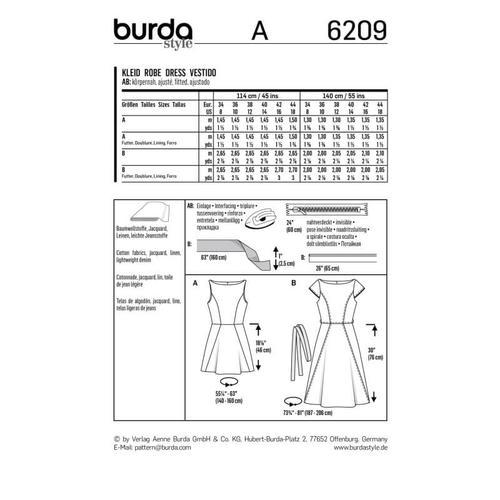 Wykrój krawiecki BURDA na sukienkę zrozszerzaną spódnicą i dekoltem włódkę