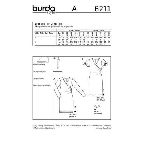 Wykrój krawiecki BURDA na dopasowana sukienkę kopertową
