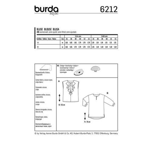 Wykrój krawiecki BURDA na bluzkę o prostym kroju, zwolantem przy dekolcie