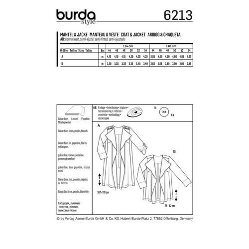 Wykrój krawiecki BURDA na płaszcz bez kołnierza i zapięcia
