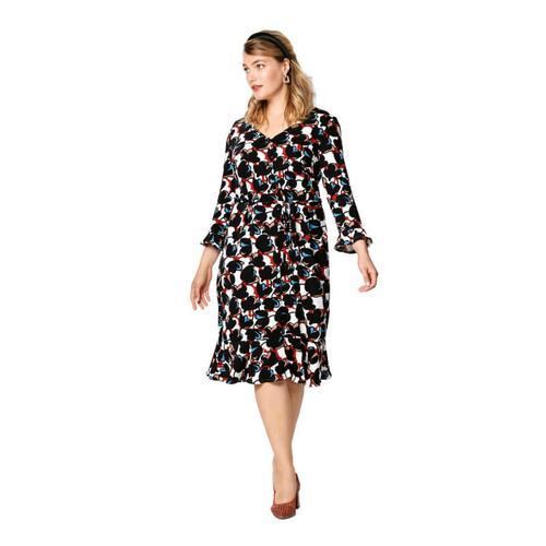 Wykrój krawiecki BURDA na sukienkę zzapięciem na guziki, dekoltem wszpic iwolantami