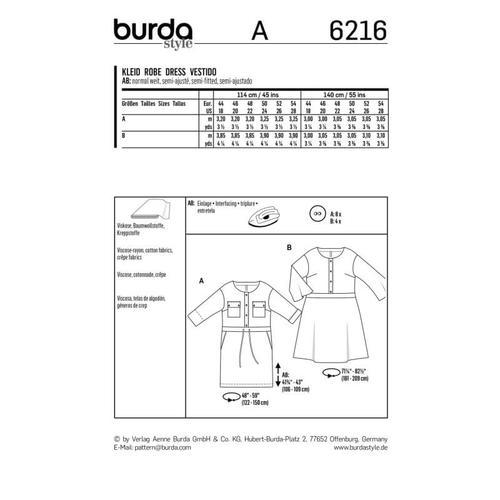 Wykrój krawiecki BURDA na sukienkę zzapięciem zprzodu na guziki oraz panelem wtalii