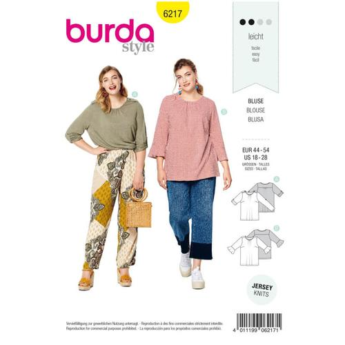 Wykrój krawiecki BURDA na bluzkę zpodwijanymi rękawami albo z rękawami zwolantami