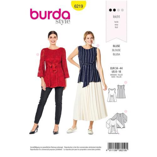 Wykrój krawiecki BURDA na bluzkę bez rękawów, dwuwarstwowa, z paskami wiązanymi zprzodu
