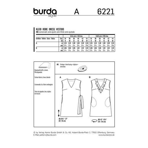 Wykrój krawiecki BURDA na sukienkę bez rękawów zdekoltem wserek i falbaną, o luźnym kroju