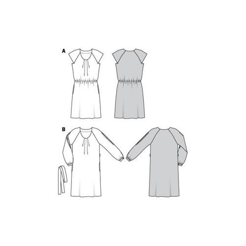 Wykrój krawiecki BURDA na sukienkę z zakładkami przy dekolcie i raglanowymi rękawami