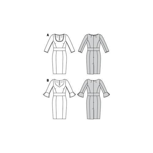 Wykrój krawiecki BURDA na sukienkę z panelem w talii i dwoma rodzajami dekoltu
