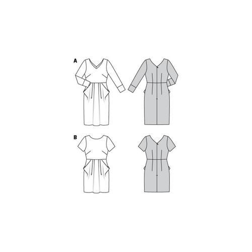 Wykrój krawiecki BURDA na sukienkę zdekoltem wserek, spódnicą zzakładkami iogromnymi kieszeniami