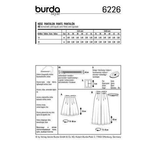 Wykrój krawiecki BURDA na spodnie bermudy ikuloty zzakładkami