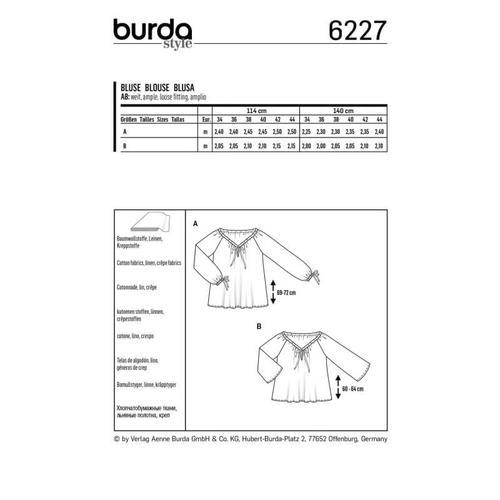 Wykrój krawiecki BURDA na bluzkę zdekoltem carmen i tunelem na tasiemkę