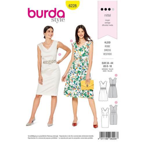Wykrój krawiecki BURDA na sukienkę zdekoracyjnym marszczeniem, sukienkę ołówkowa zdekoltem wszpic