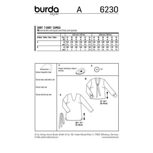 Wykrój krawiecki BURDA na bluzkę zdekoltem wszpic