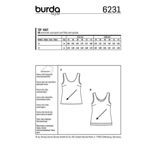 Wykrój krawiecki BURDA na top zokrągłym dekoltem jedno- lub dwuwarstwowy