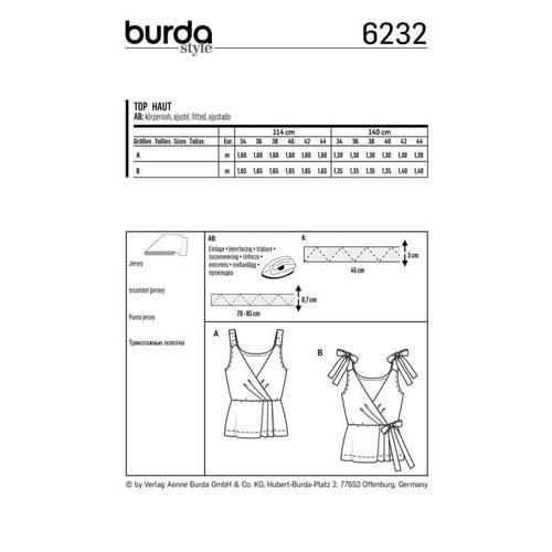 Wykrój krawiecki BURDA na top kopertowy zelastycznymi lub wiązanymi ramiączkami