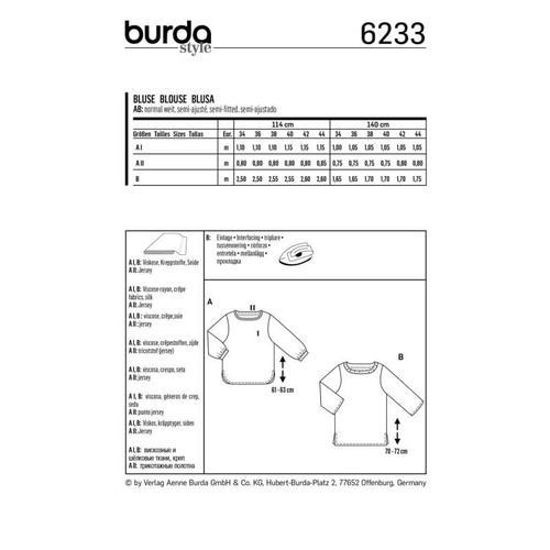 Wykrój krawiecki BURDA na bluzkę zmarszczoną plisą dekoltu i rękawami 3/4