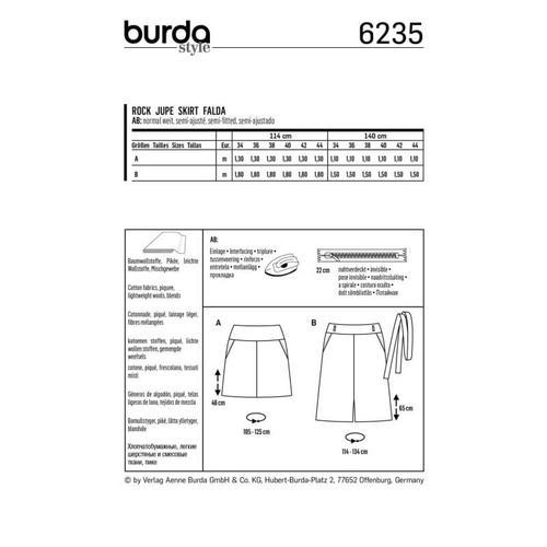 Wykrój krawiecki BURDA na spódnicę zkarczkiem i kieszeniami wkarczku