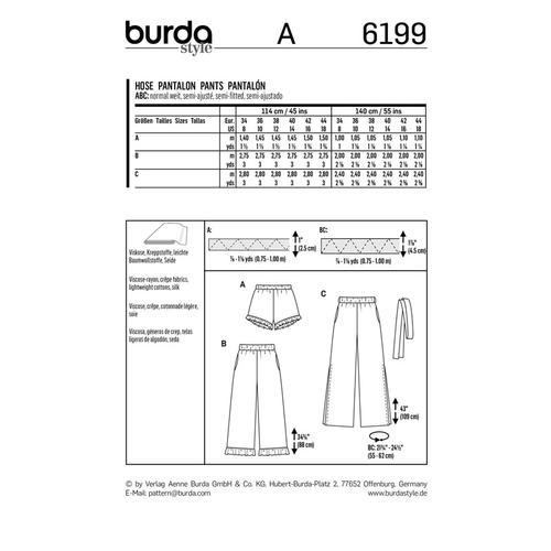 Wykrój krawiecki BURDA na spodnie lub szorty z gumką w pasie i falbankami przy nogawkach