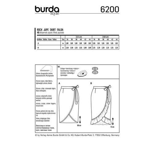 Wykrój krawiecki BURDA na spódnicę kopertową z paskiem i wiązaniami