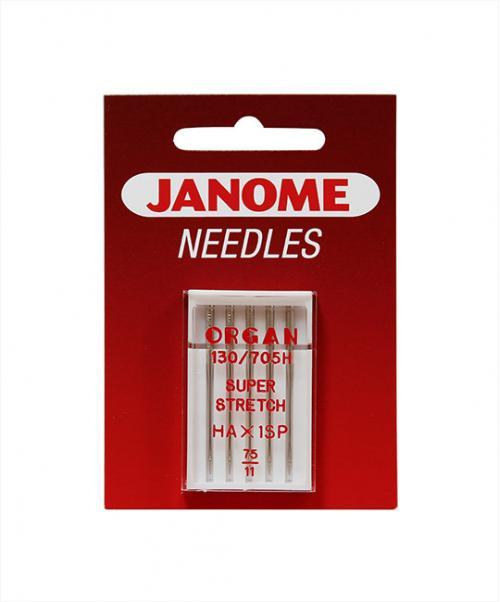 Zestaw 3 kompletów igieł JANOME (z kulką, do tkanin, igła podwójna)