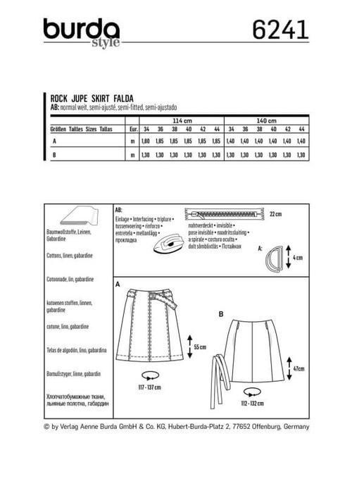 Wykrój krawiecki BURDA na spódnicę zklinów bez doszytego paska, zpaskiem do zapięcia wtalii