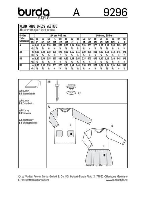 Wykrój krawiecki BURDA na sukienkę t-shirtowa zkieszeniami i sukienkę zmarszczoną spódnicą