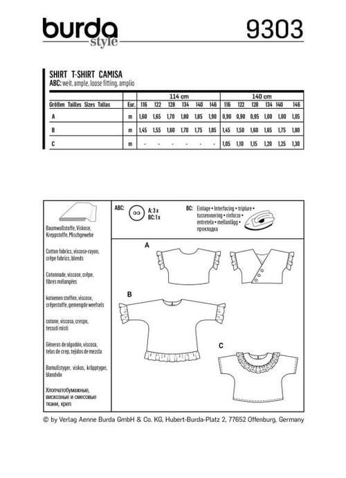 Wykrój krawiecki BURDA na bluzkę lub tunikę z rękawami krojonymi zcałości ifalbankami