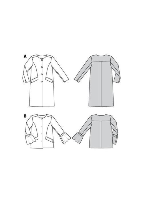 Wykrój krawiecki BURDA na płaszcz imarynarka bez kołnierza