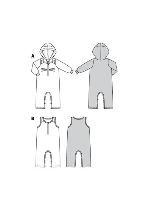 Wykrój krawiecki BURDA na kombinezon zkapturem z rękawami lub bez rękawów, zzapięciem wkroku