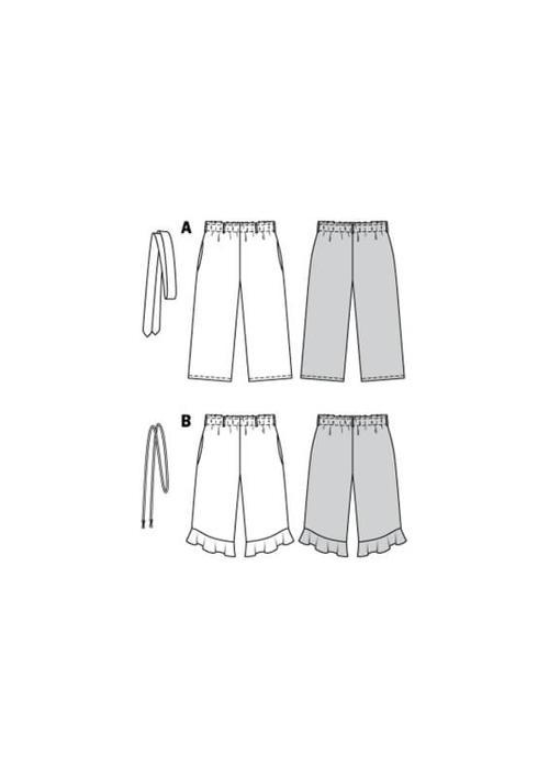Wykrój krawiecki BURDA na spodnie zgumą wpasie ikuloty o długości 7/8
