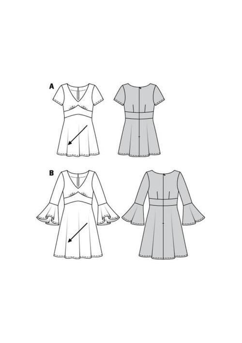Wykrój krawiecki BURDA na sukienkę wstylu empire zpanelem pod biustem iz rozkloszowaną spódnicą